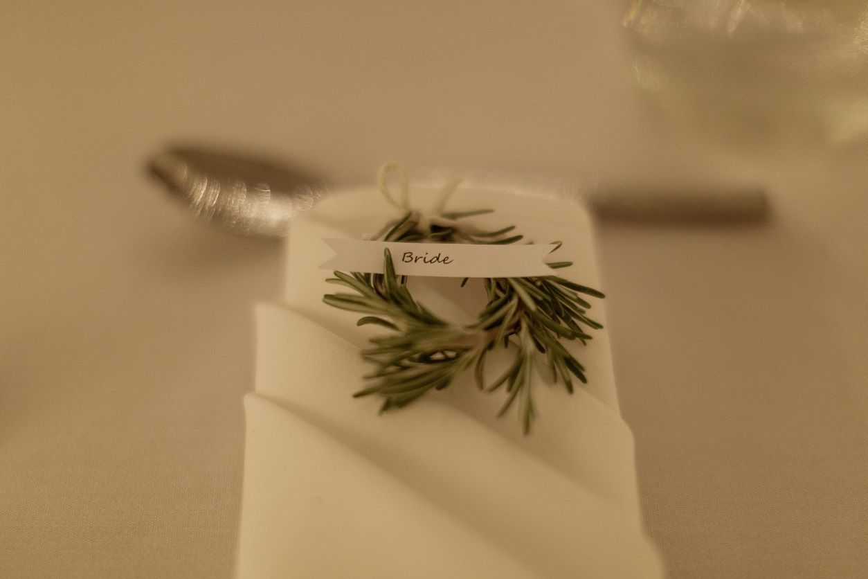 Rosemary napkin rings at The Normans Photo by Luke Bell Photography
