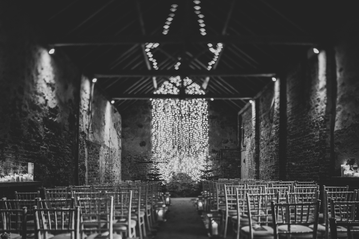 The Ceremony Barn at The Normans dressed for one last outing in 2018. Photo by Bloom Weddings