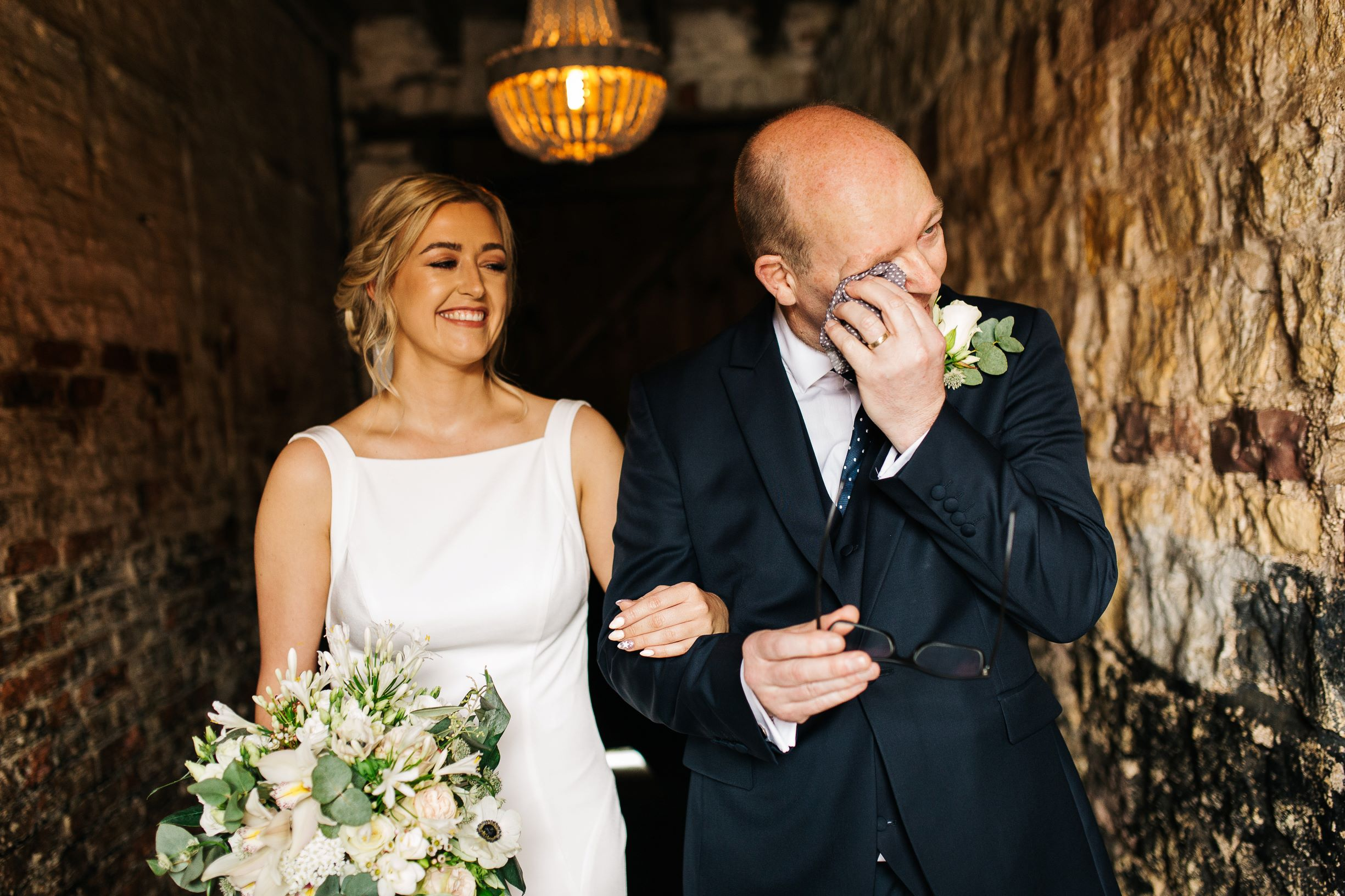 Totes emosh, Dad. Sarah and her Dad get ready to take to the aisle. Photo by pauljosephphotography.co.uk.jpg