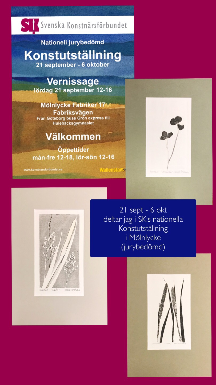 Tre av mina grafiska bilder kom med på Svenska Konstnärsförbundets utställning i Mölnlycke. En för övrigt jättefin utställning