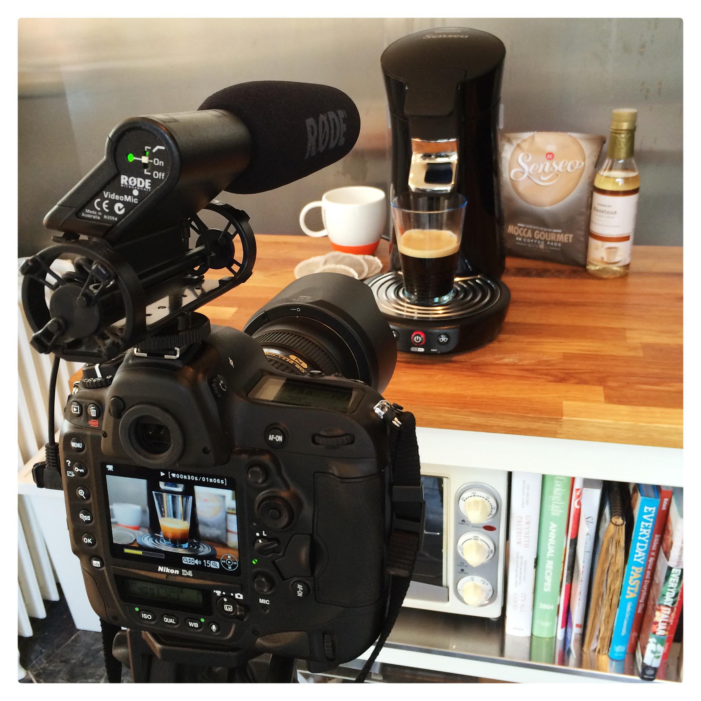 video camera recording coffee maker
