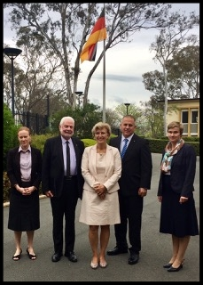 Ken Mulligan (second from right), Managing Director of YWAM Medical Ships visited the German Ambassador Dr. Anna Prinz (centre) to discuss ways the German Embassy and YWAM can work together to bring aid to PNG.