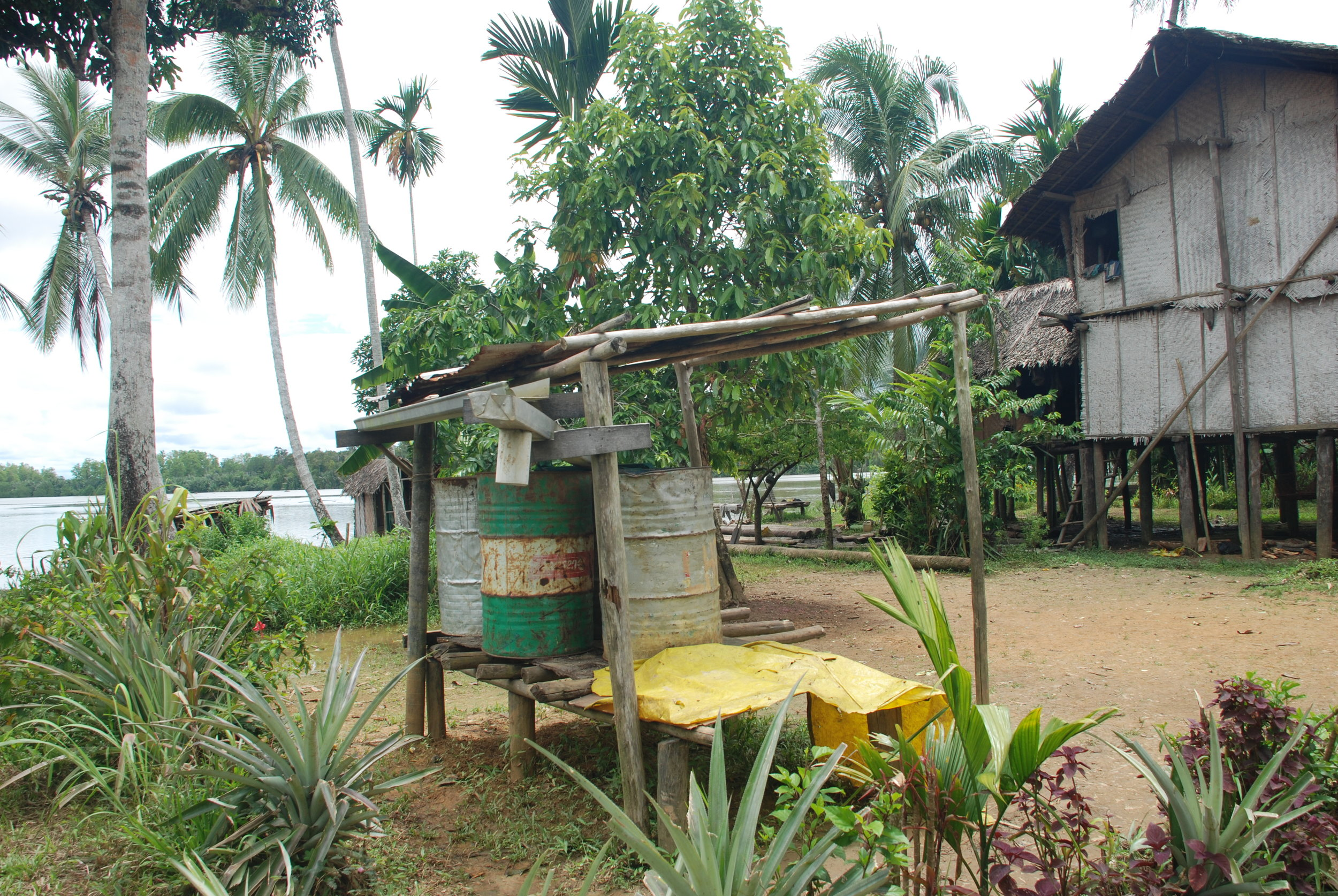The village's rain water catchment, one of the main sources for its drinking water.    PHOTO: Madeleine Brezge
