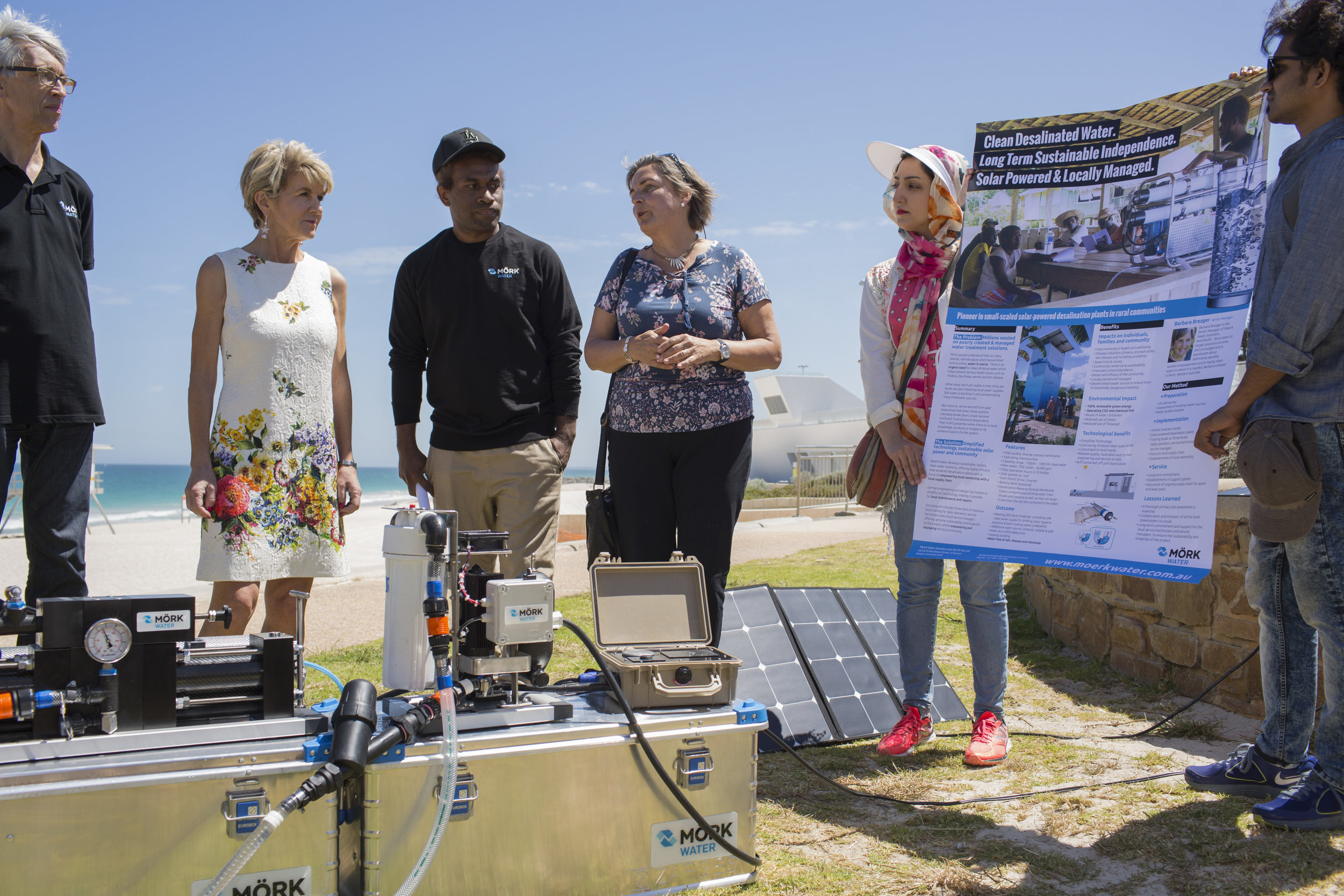 The Hon Julie Bishop listens attentively to Moerk Water's demonstration