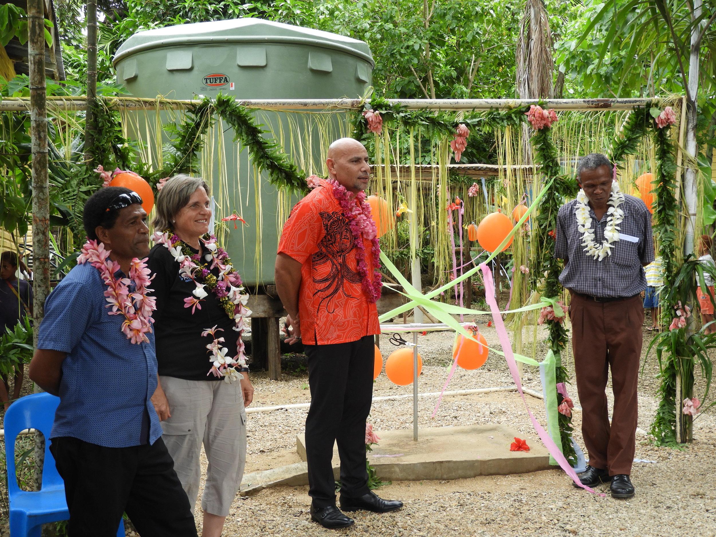 Administrator Mr Lindsay Alesana, Moerk Water Business Director Barbara Brezger, Deputy Prime Minister Hon. Charles Abel MP, President Maramatana LLG Hon. James Rubeni (From left to right).