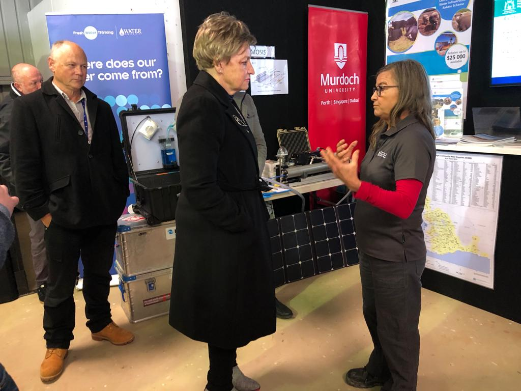 Alannah MacTiernan  Minister for Regional Development; Agriculture and Food visited the booth of the  Department of Primary Industries and Regional Development  and talked with Tracy Calvert from the  Department of Water and Environmental Regulation (DWER)