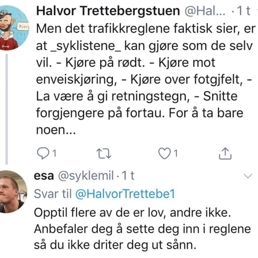 Her svarer politiker Alnæs en velger på Twitter.