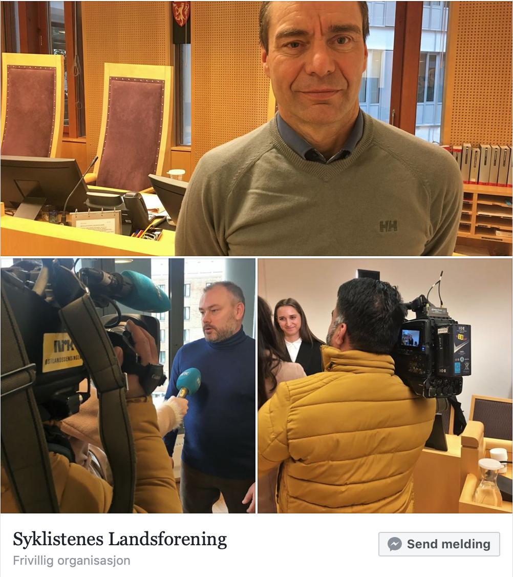 Skjermdump Syklistenes Landsforening som var først ute med frifinnelses-nyheten.