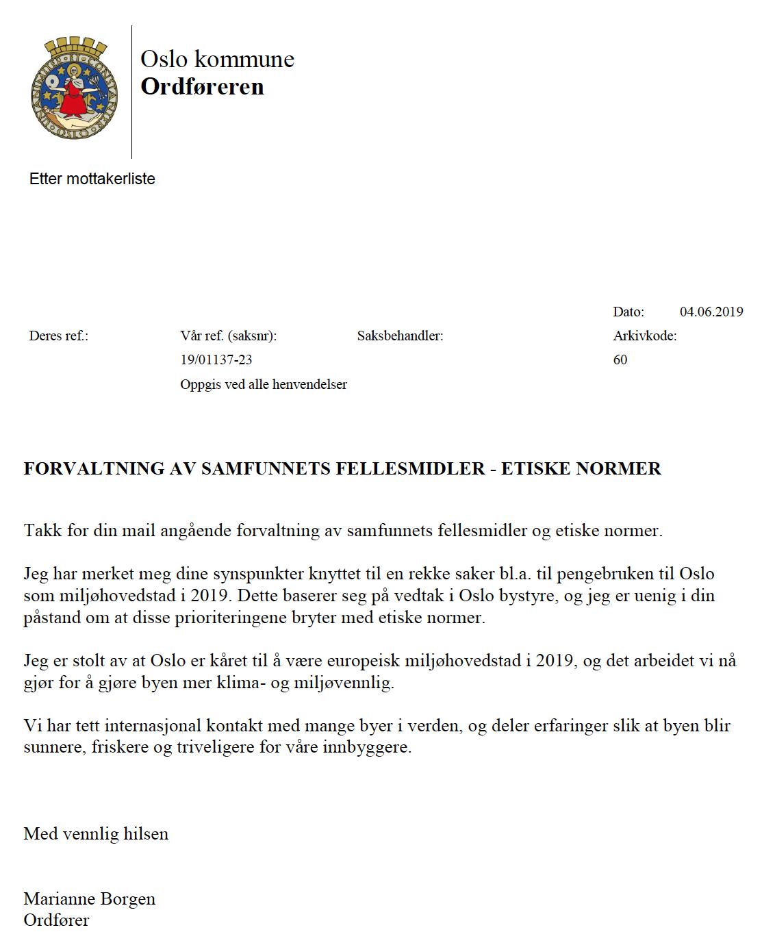 Slik svarer ordfører Marianne Borgen (SV) når innbyggere spør om sløsing.