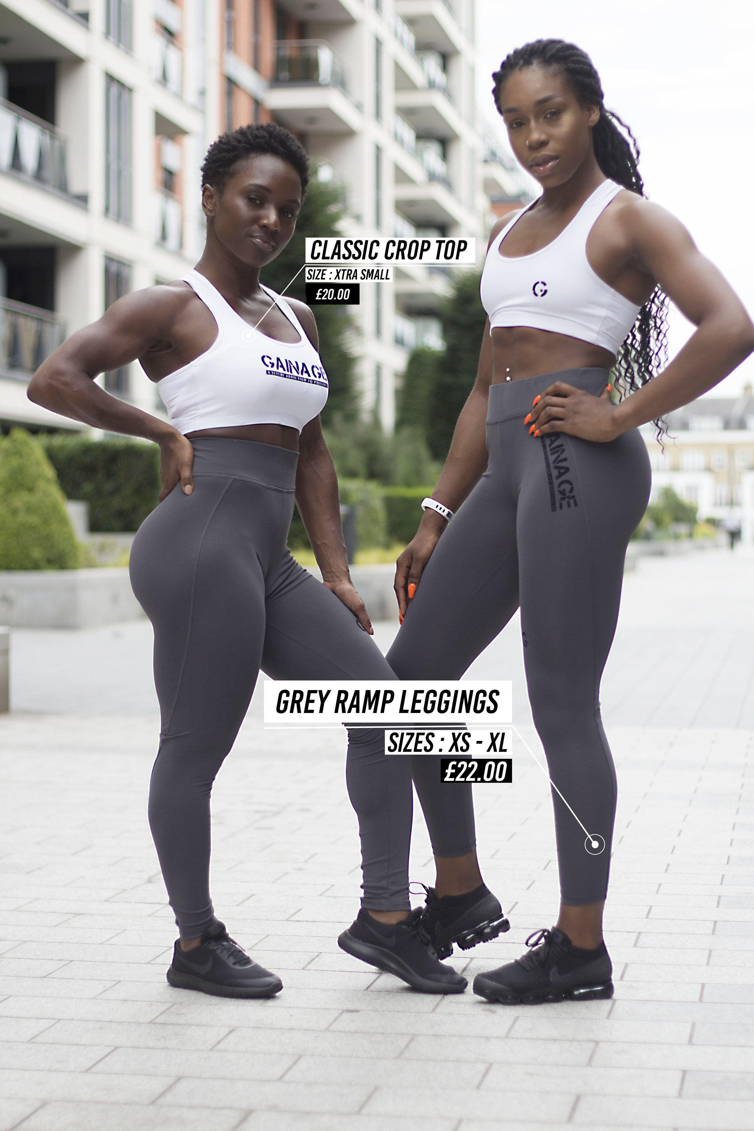 Photo: Fitness influencers,  Kariilondon  and  OhMariaFiit  sporting GAINAGE