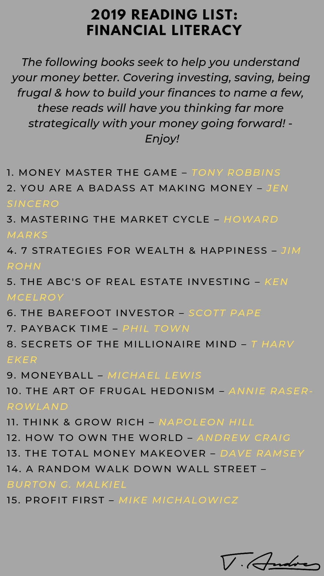 2019 Reading List, Financial Literacy curated by  Triston Andre