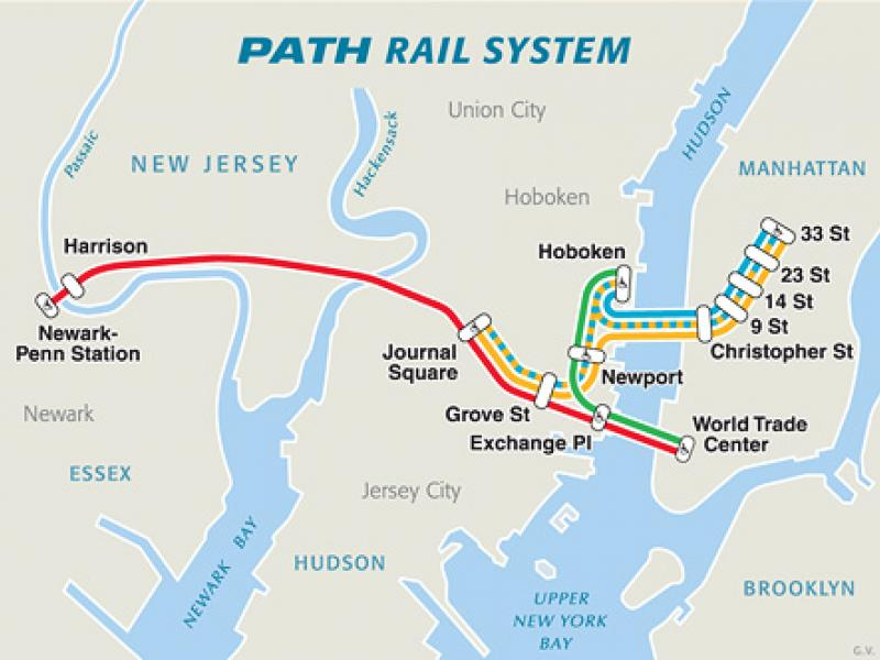 This PATH Train map shows Jerome's trip from New Jersey to Manhattan. He would travel to East New York                               Brooklyn everyday while being street homeless,