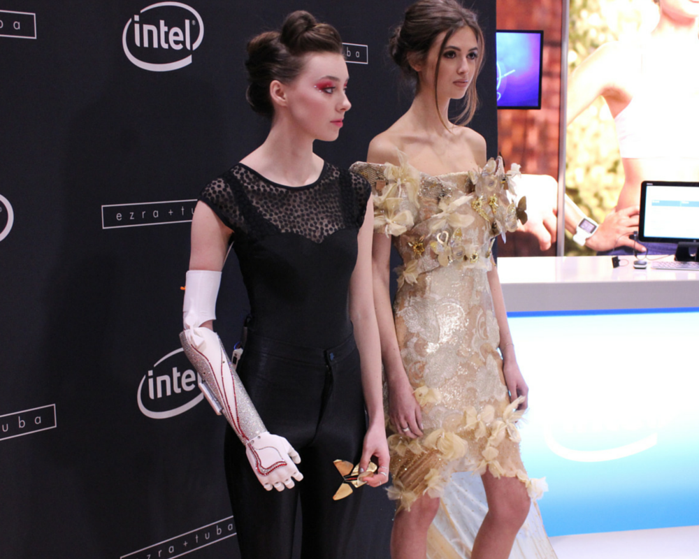 Grace Mandeville modelling open bionics robotic hand