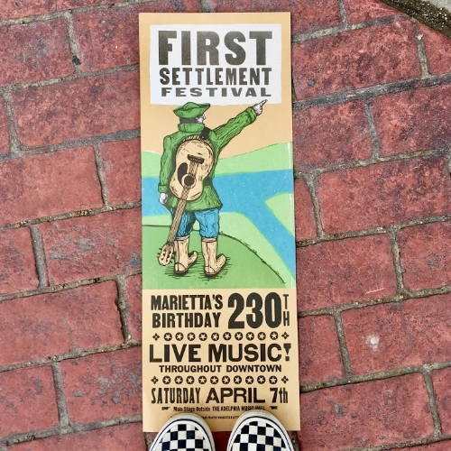 Art print for First Settlement Festival designed and printed by Just A Jar Design Press on Front Street in downtown Marietta.