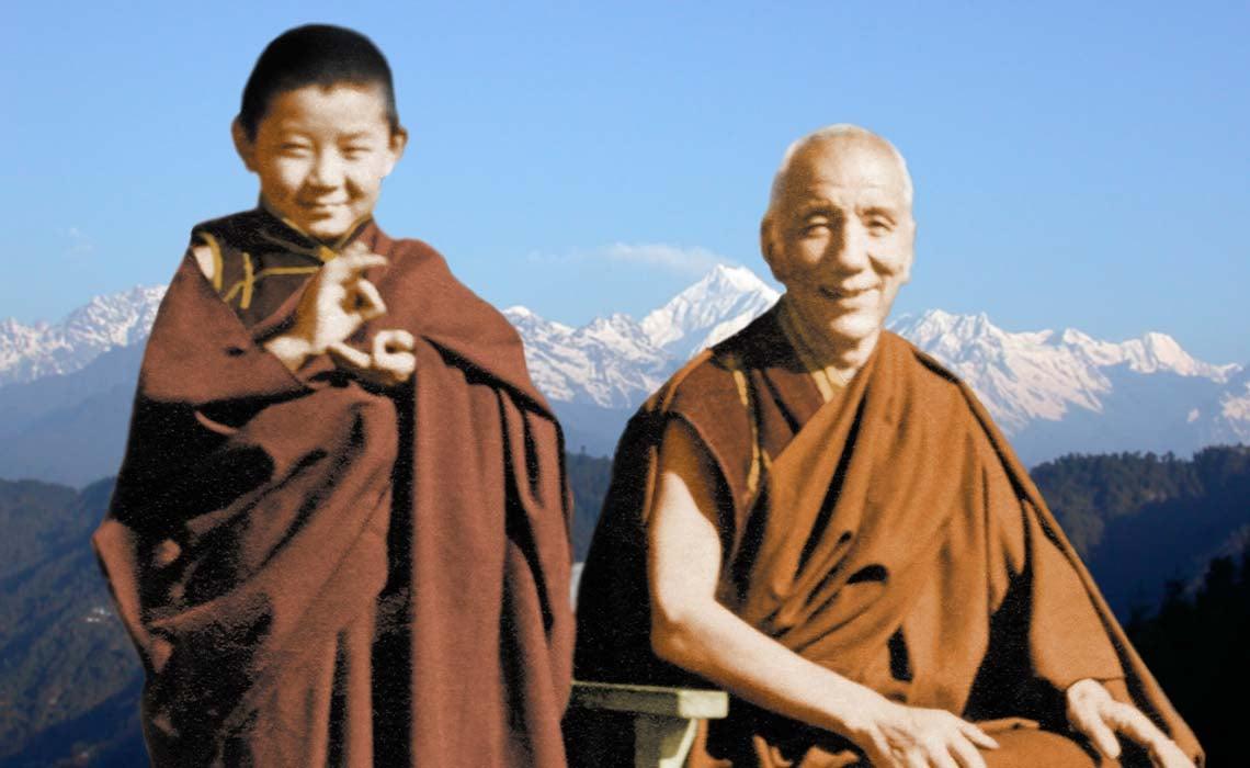 A young Sogyal Rinpoche with Jamyang Khyentse Chökyi Lodrö