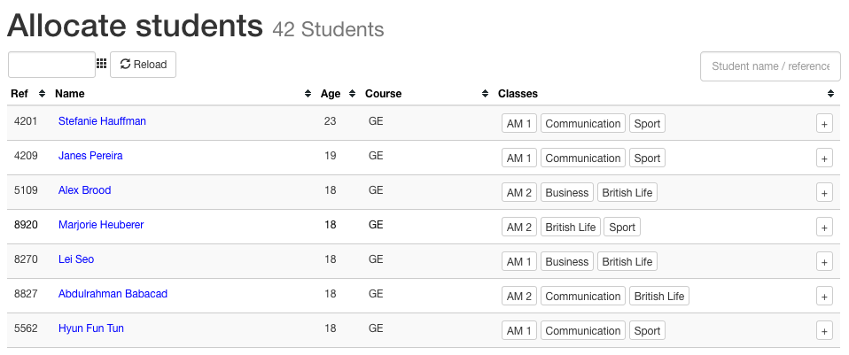 Allocate student to multiple classes
