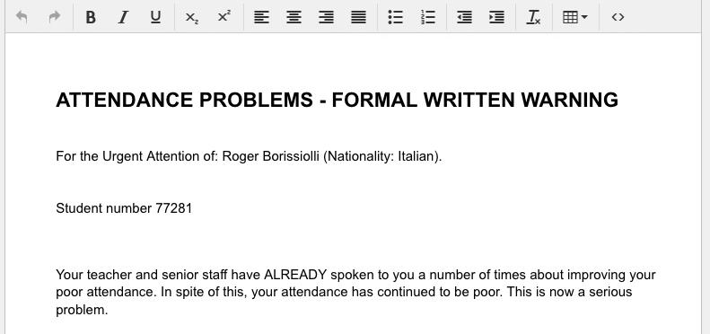 Pre-filled standard school document