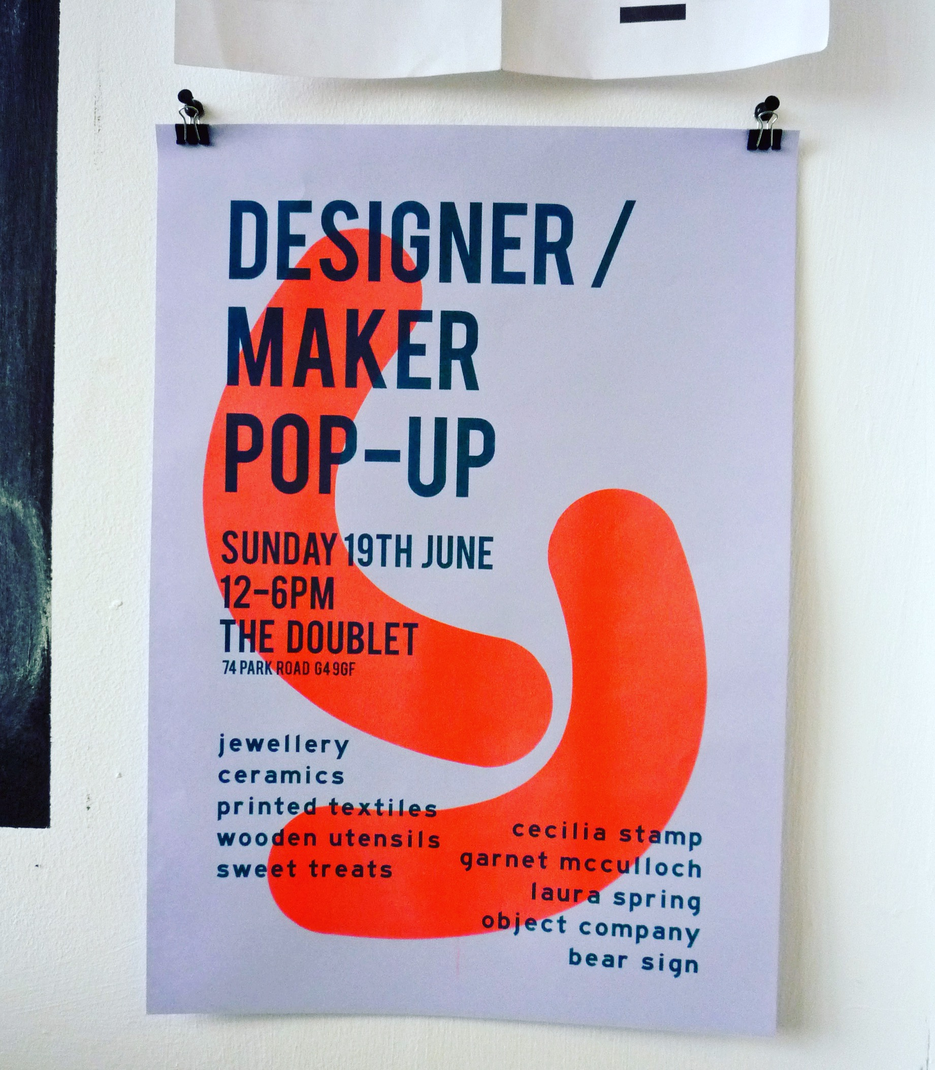 Poster designed by Cecilia Stamp / printed at Risotto, Glasgow.