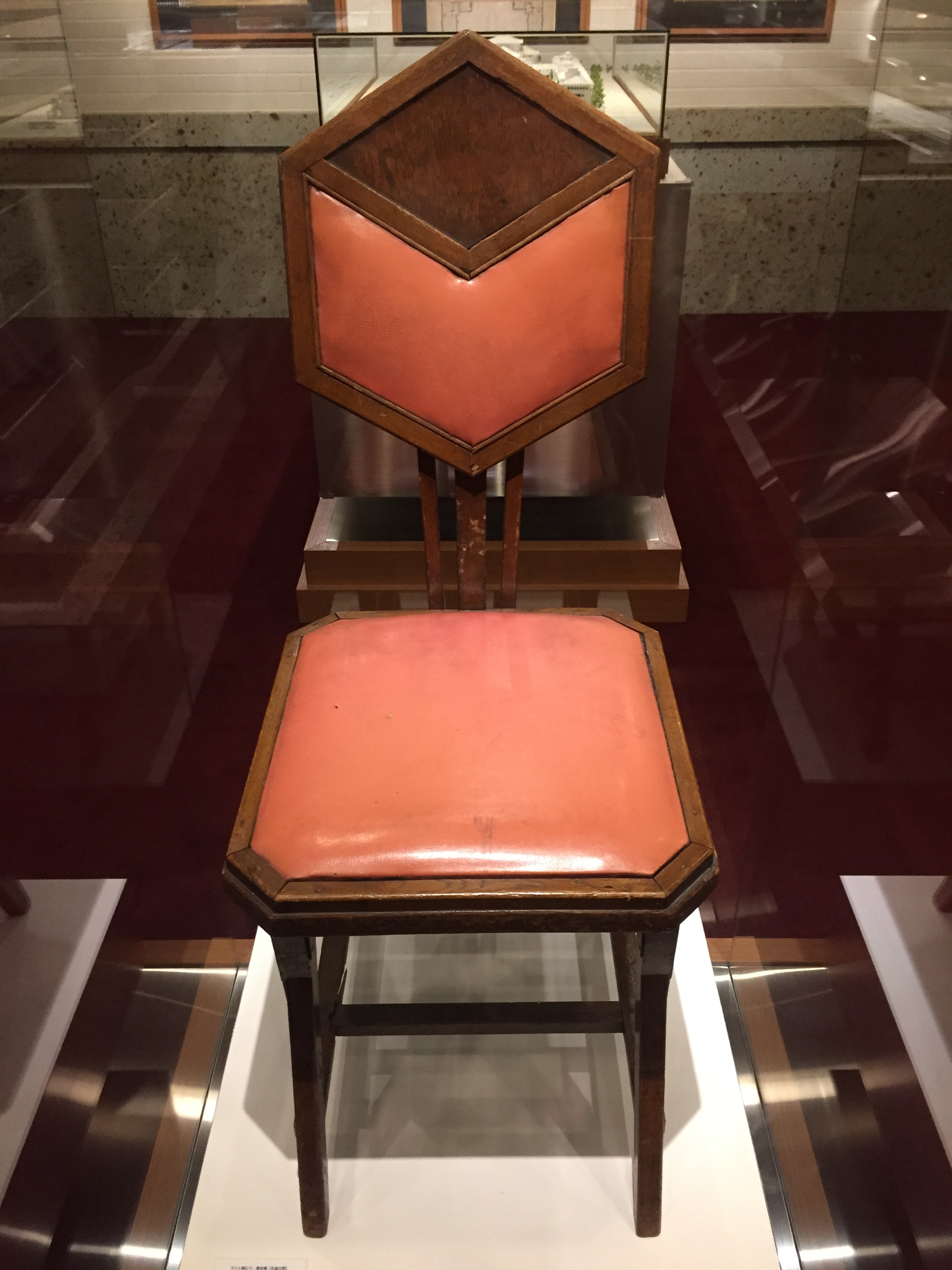 Imperial Hotel, chair designed by Frank Lloyd Wright)