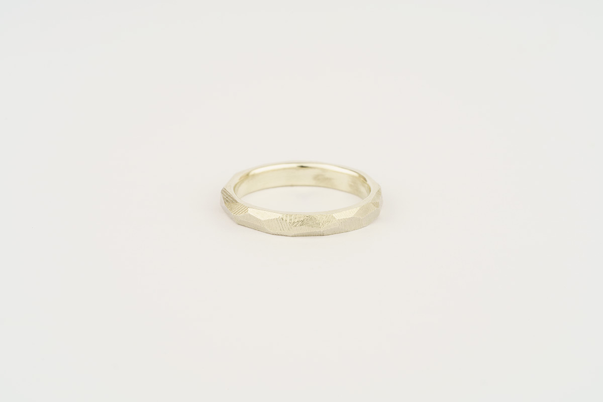 9ct white gold faceted wedding ring