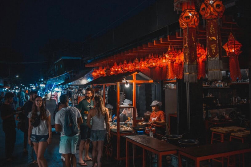 street market with red lights