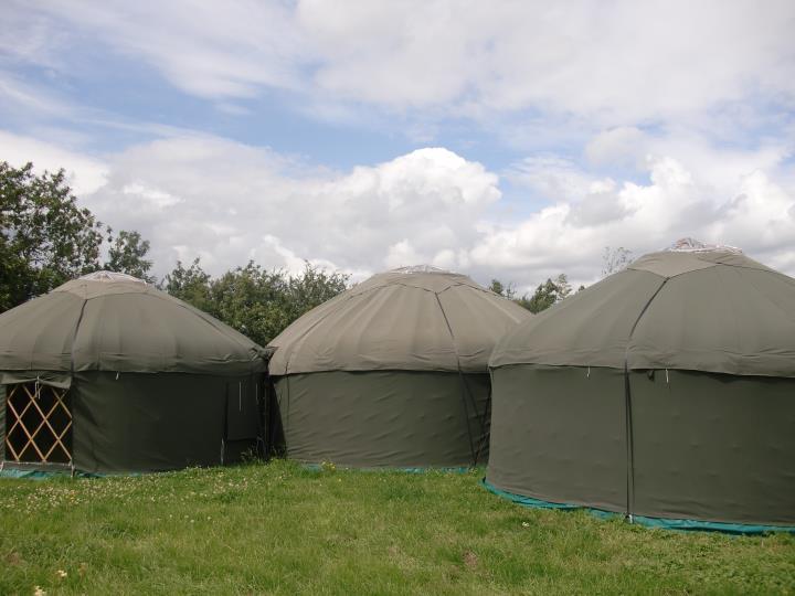 yurt pods 2 x16 ft and 1 x 18 ft yurts