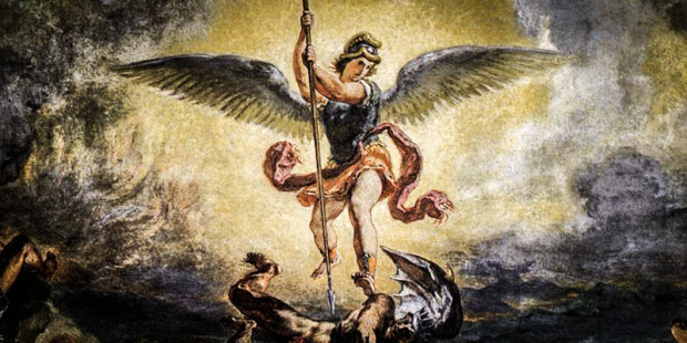 - In art Saint Michael is depicted with a sword, a banner, or scales (symbolizing God's weighing of both justice and mercy), and is often shown vanquishing Satan in the form of a dragon.