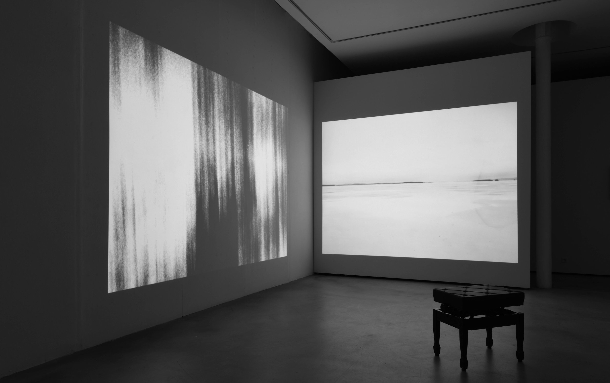 Einsamkeit   2018, 06'47'' black and white, piano stool, 2 projections, 16mm transfered, loop