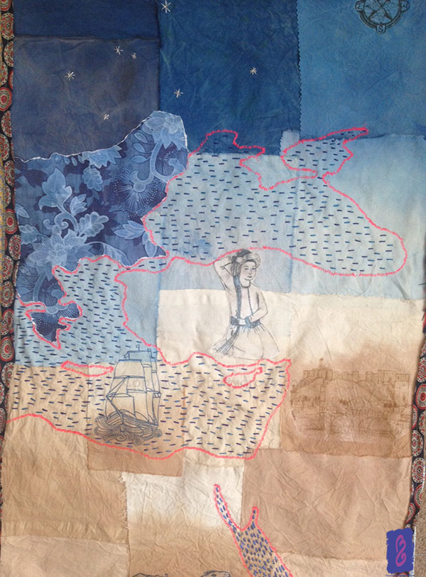 Middle East piece - Natural dyed calico, collage and embroidery.