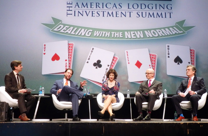 ALIS speakers dove into the numbers Monday, talking fundamentals, transaction volume and what to expect in 2018. From left: moderator Rob Kline, Chartres Lodging Group; Carter Wilson, STR; Cindy Estis Green, Kalibri Labs; Mark Wynne Smith, JLL Hotels; and Mark Woodworth, CBRE Hotels. (Photo: Stephanie Ricca)