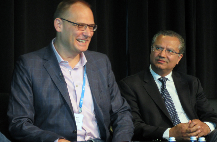 Marriott International's Alexander Pyhan (left) enjoys the distribution conversation during the Revenue Strategy Summit. Also pictured is Ash Kapur of Starwood Capital Group. (Photo: Jeff Higley)