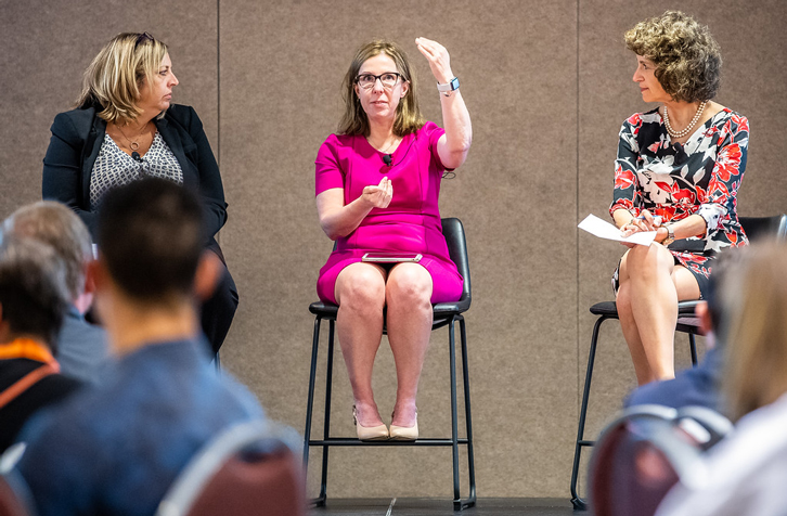 From left: Kim Gauthier, of HotelAVE; Diane Fox, of CHMWarnick; and Cindy Estis Green, of Kalibri Labs; talk during the 2019 HSMAI Revenue Optimization Conference. (Photo: Joe Szurszewski)
