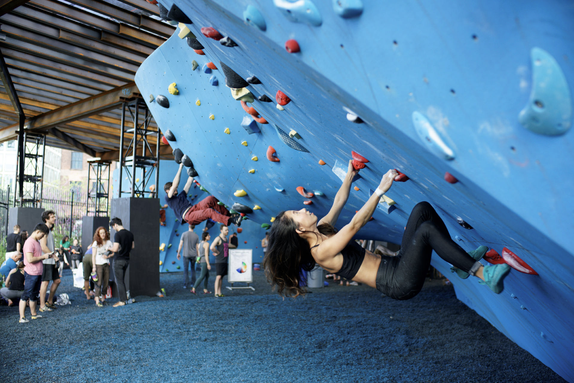 Climbing Shoes - Like pointe shoes for the rock wall. Specially formulated rubber makes the soles super sticky for gripping small footholds on the wall. Rentals are included with your day pass or get fitted for your perfect pair in our gear shop at The Cliffs at LIC. Youth sizes may be limited: youth climbers may scale our walls in sneakers.
