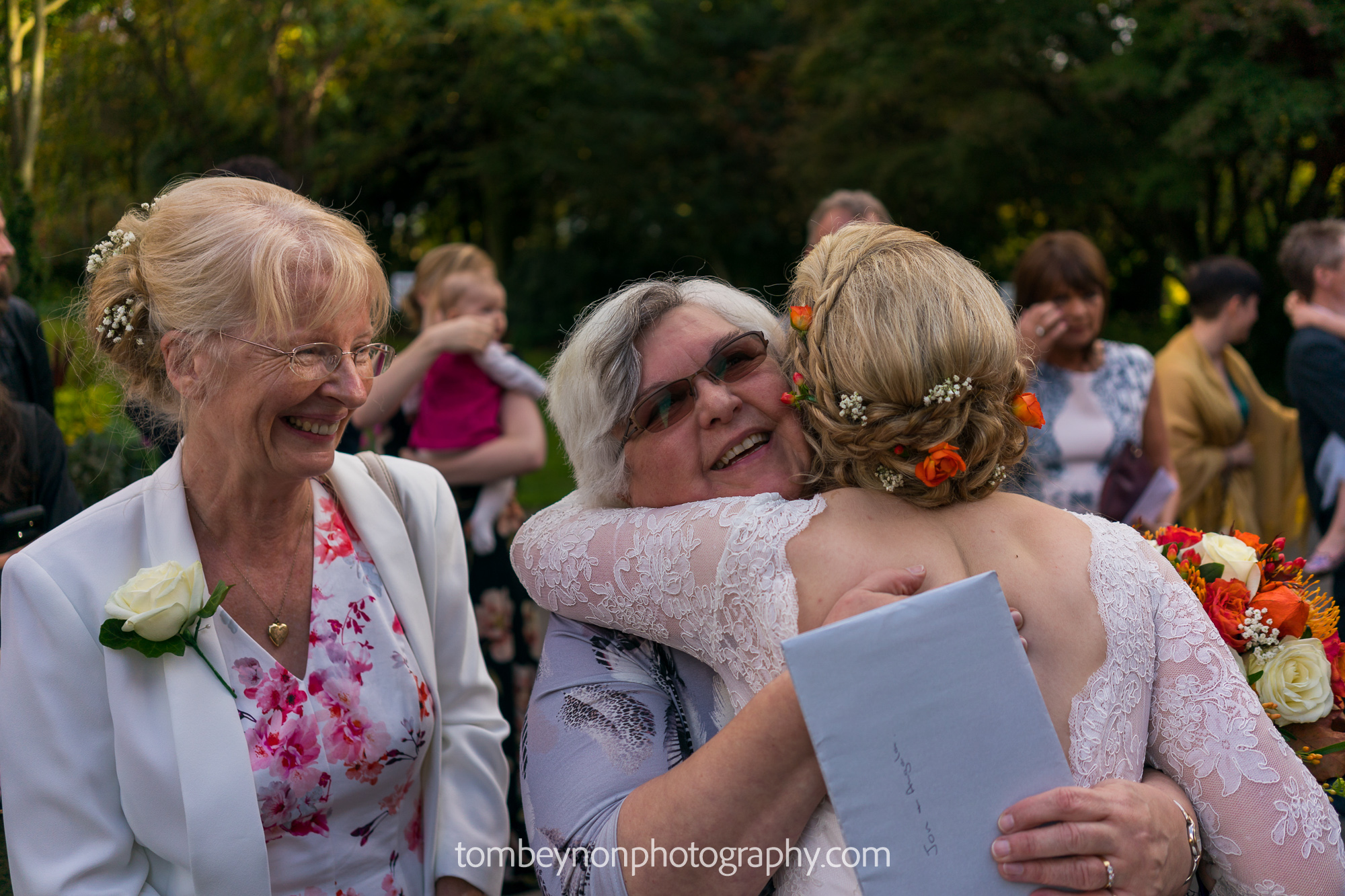 Bride greets a guest