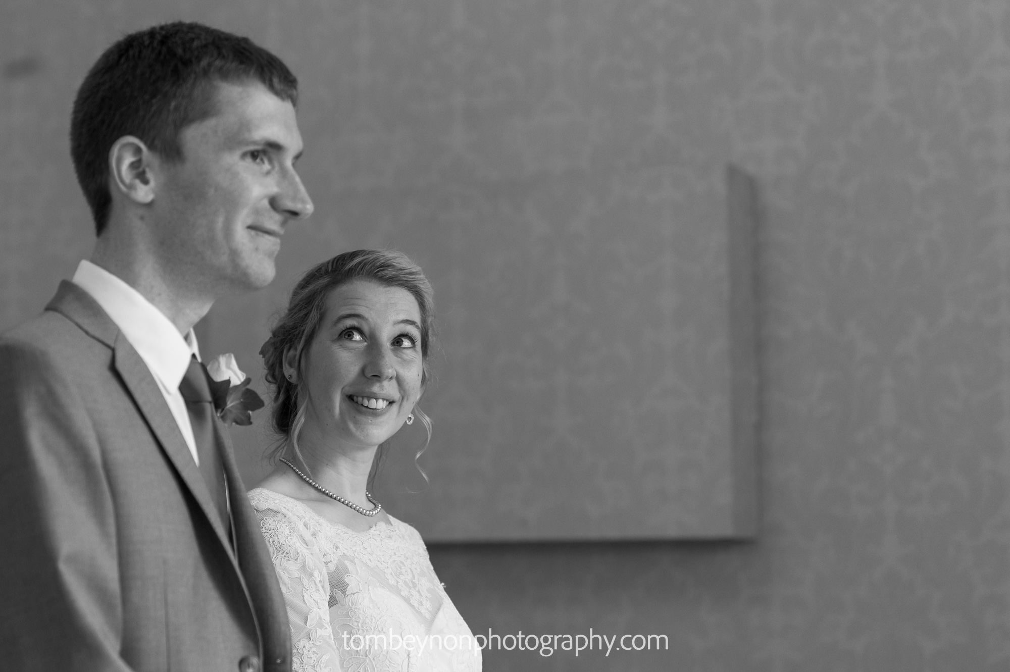 Bride looks at Groom during the ceremony