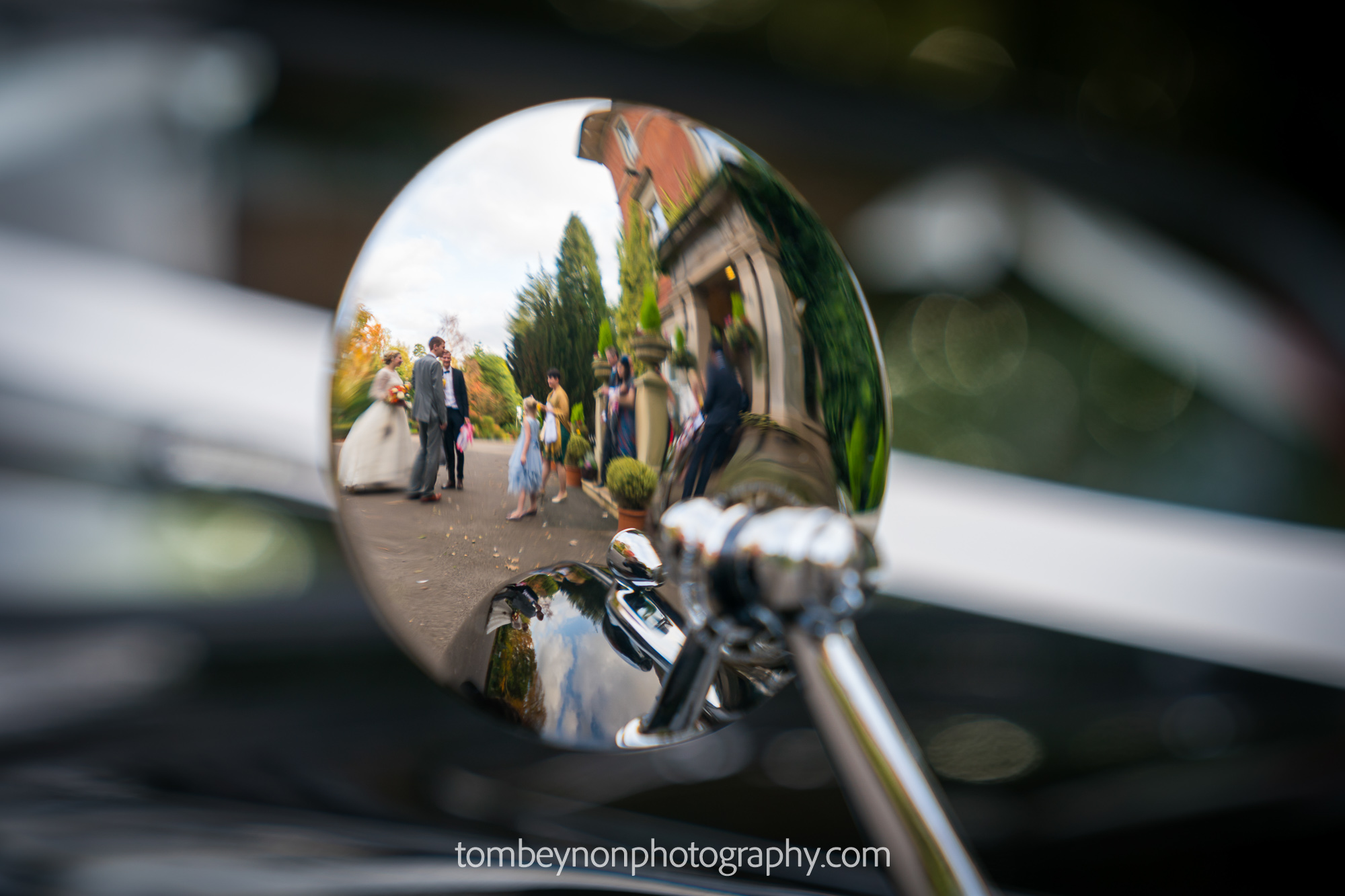 Reflection in the back of car wing mirror