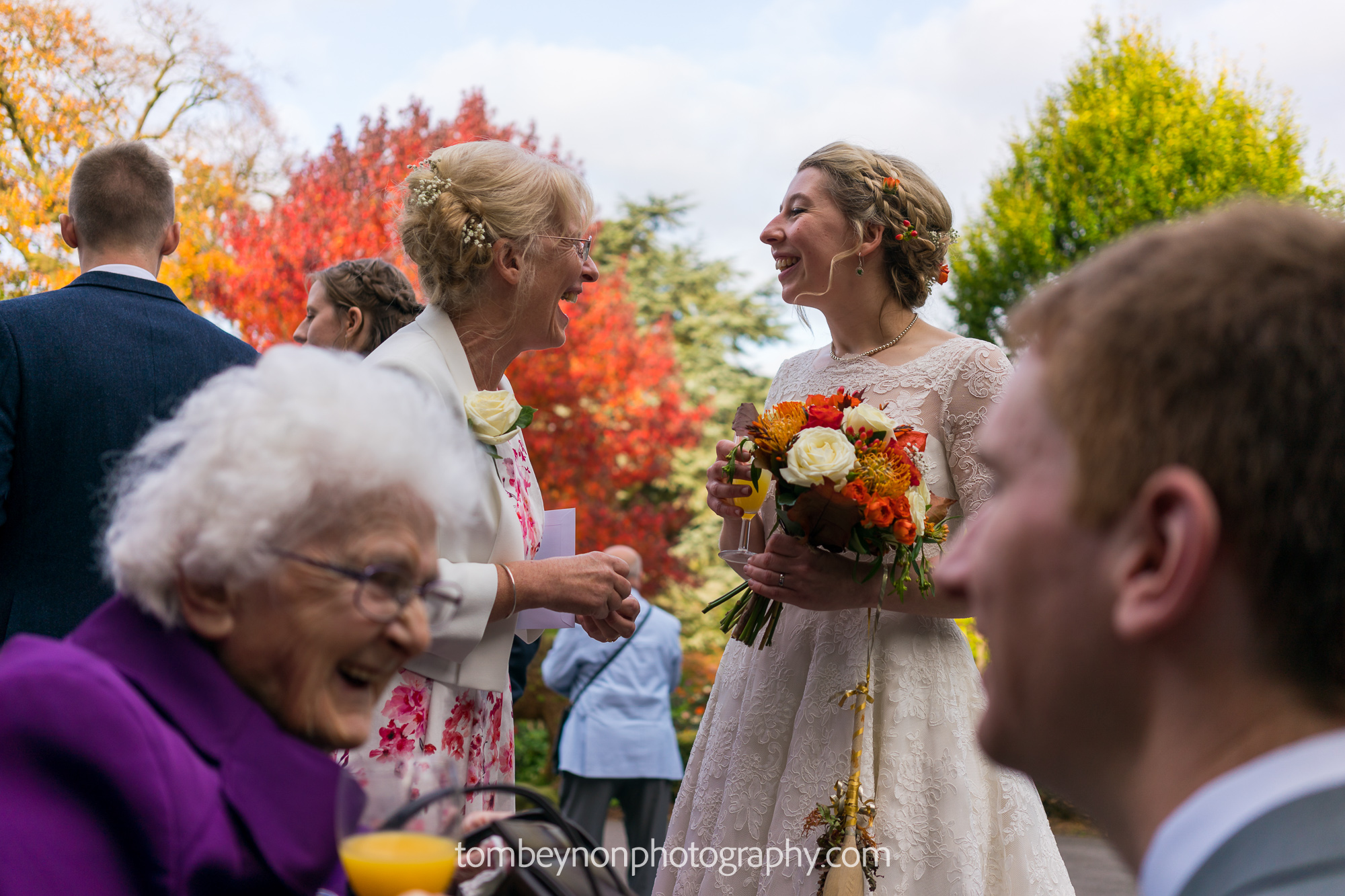 Bride and Groom chat to guests
