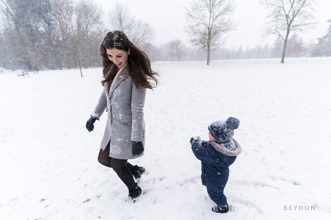 son chases mum with snowball