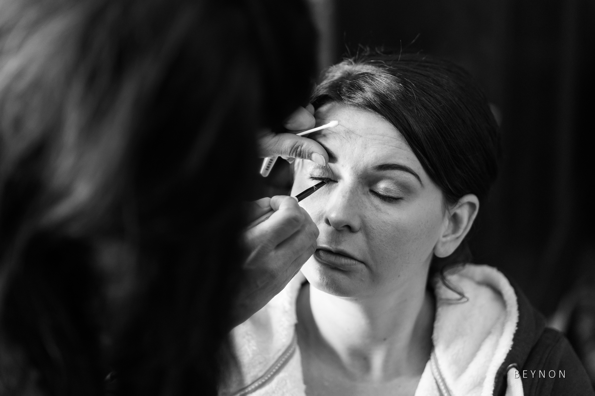 Bridesmaid gets her make-up done