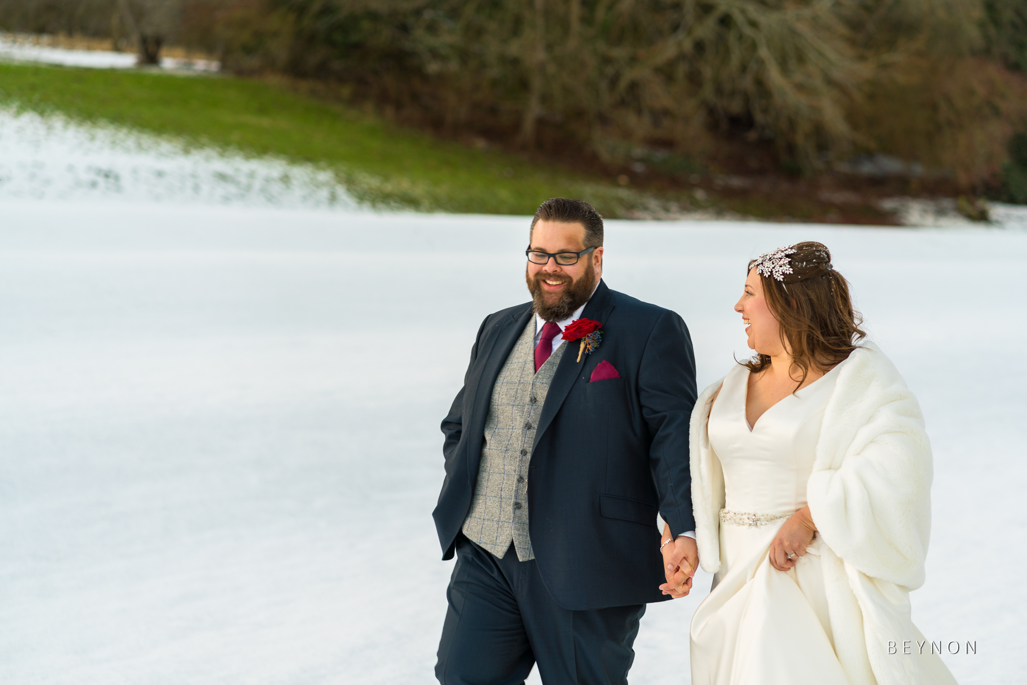 The Bride and Groom take a walk together