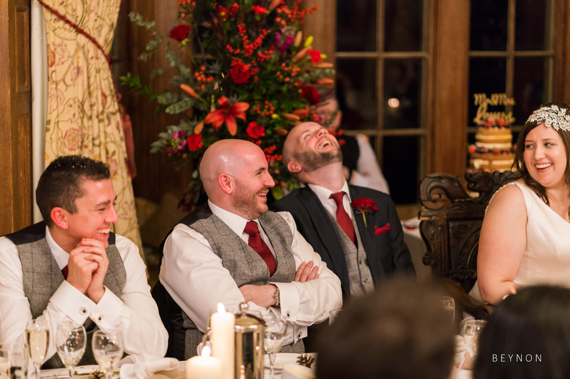 The top table laugh and smile