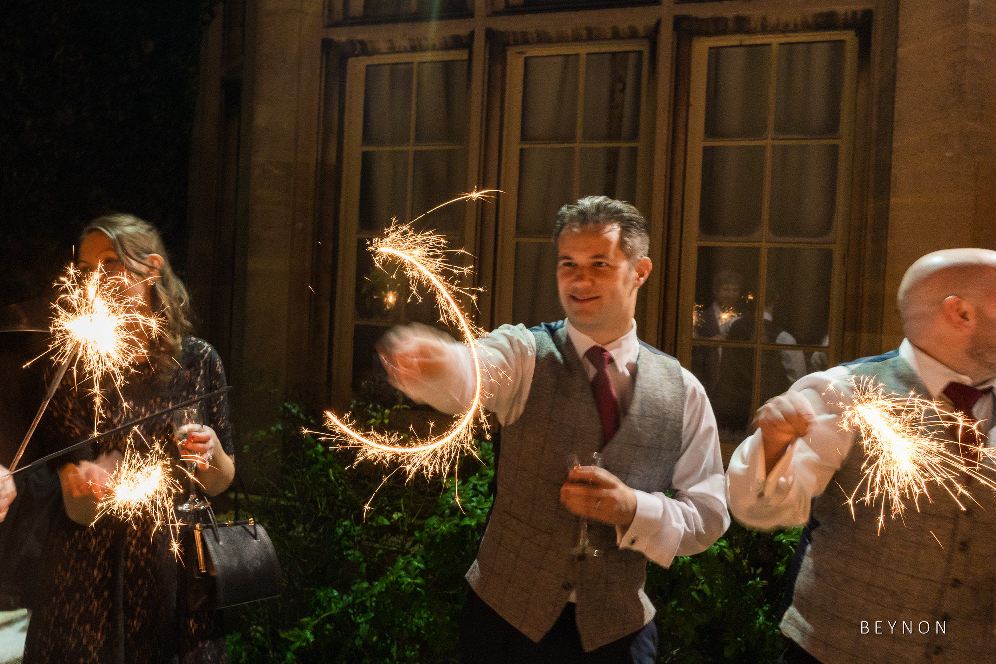Guest play with sparklers