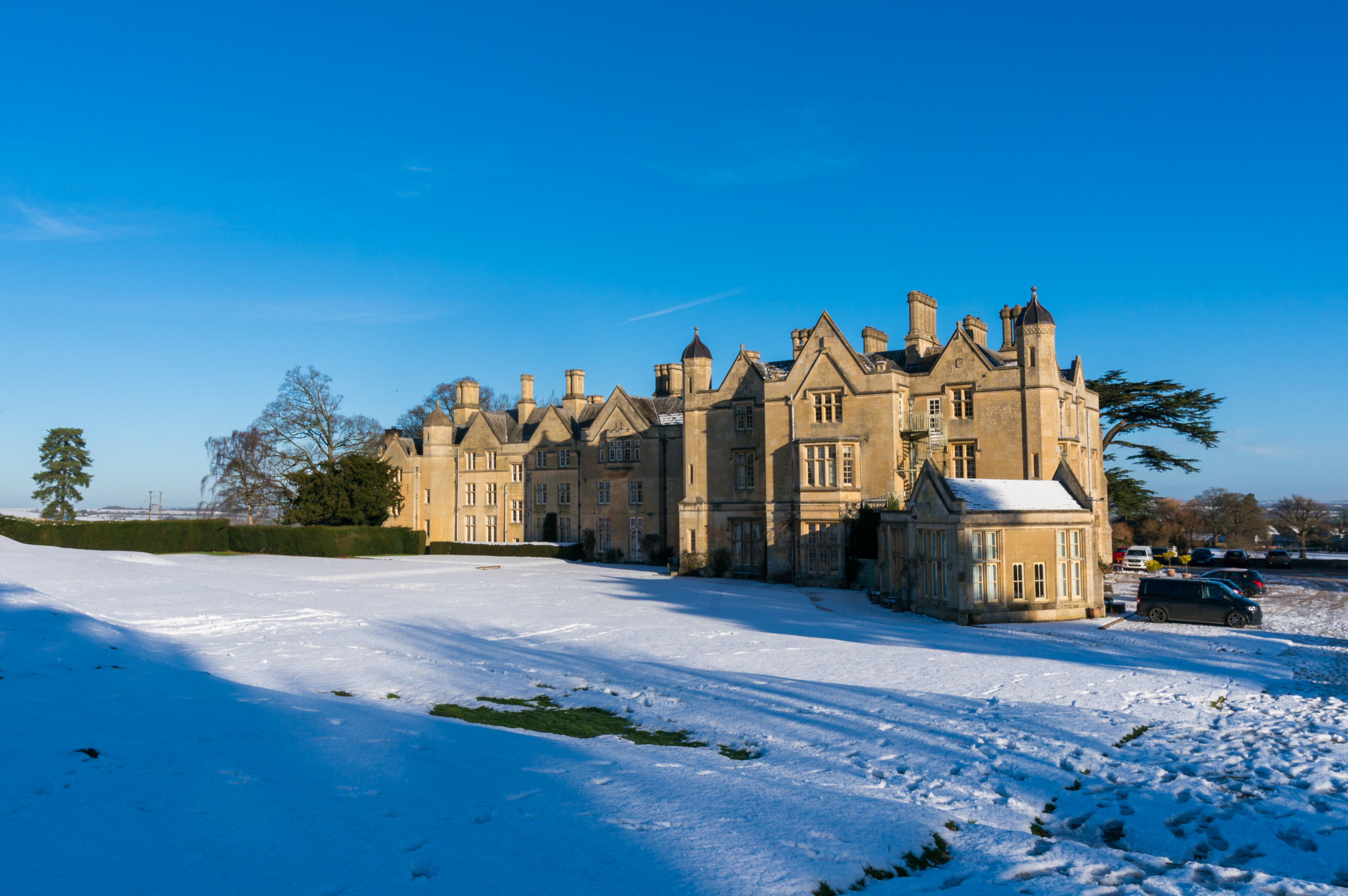 Dumbleton Hall in the snow