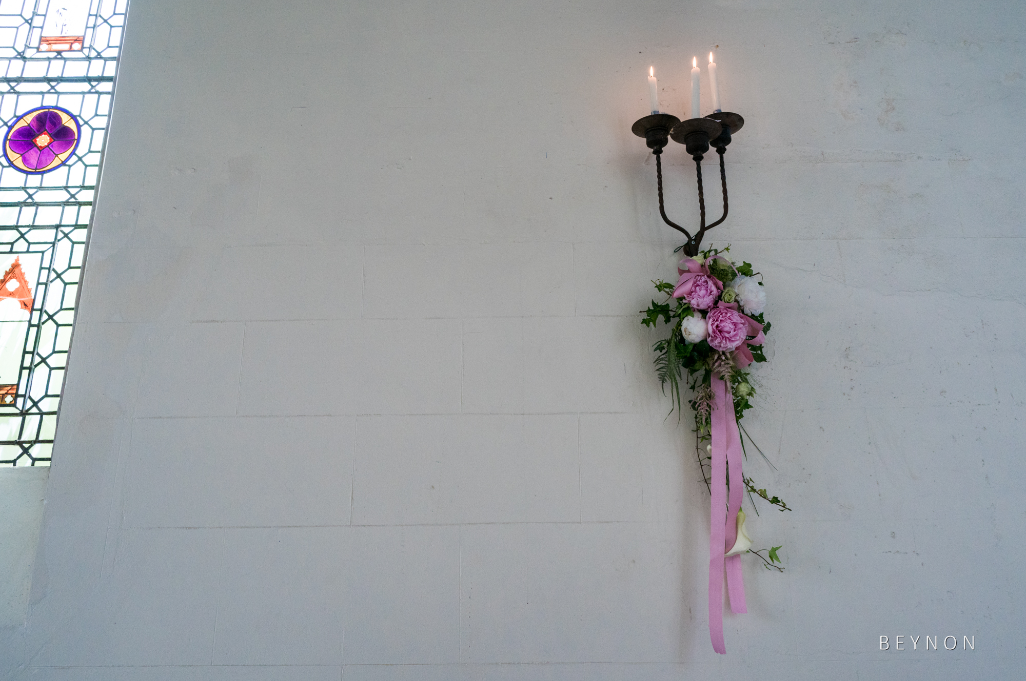 Wedding details in the chapel