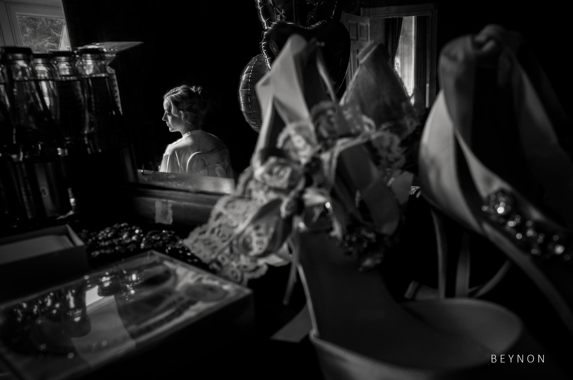 Wedding shoes details and bride portrait