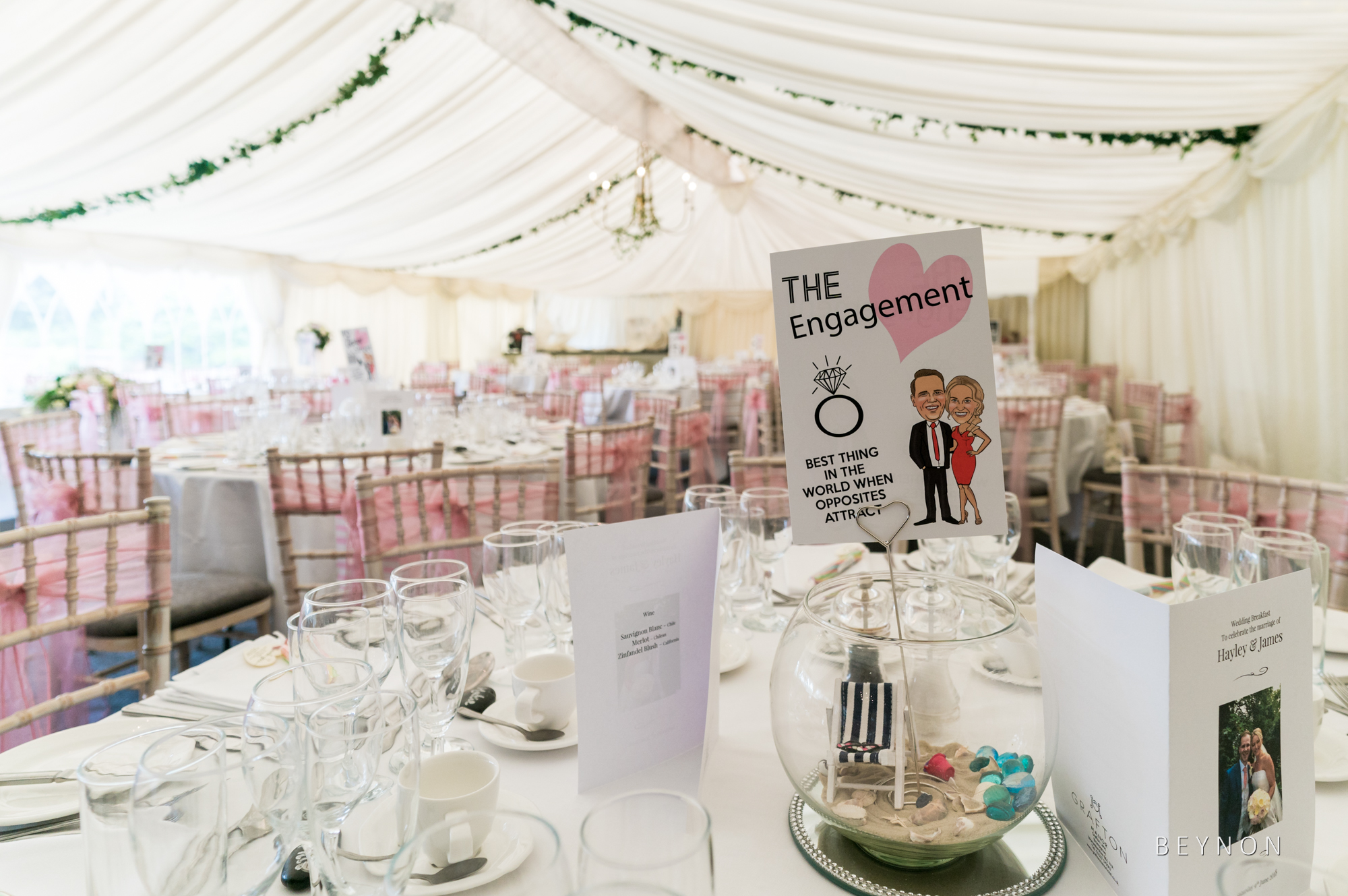 The marquee ready for the wedding breakfast at Grafton Manor