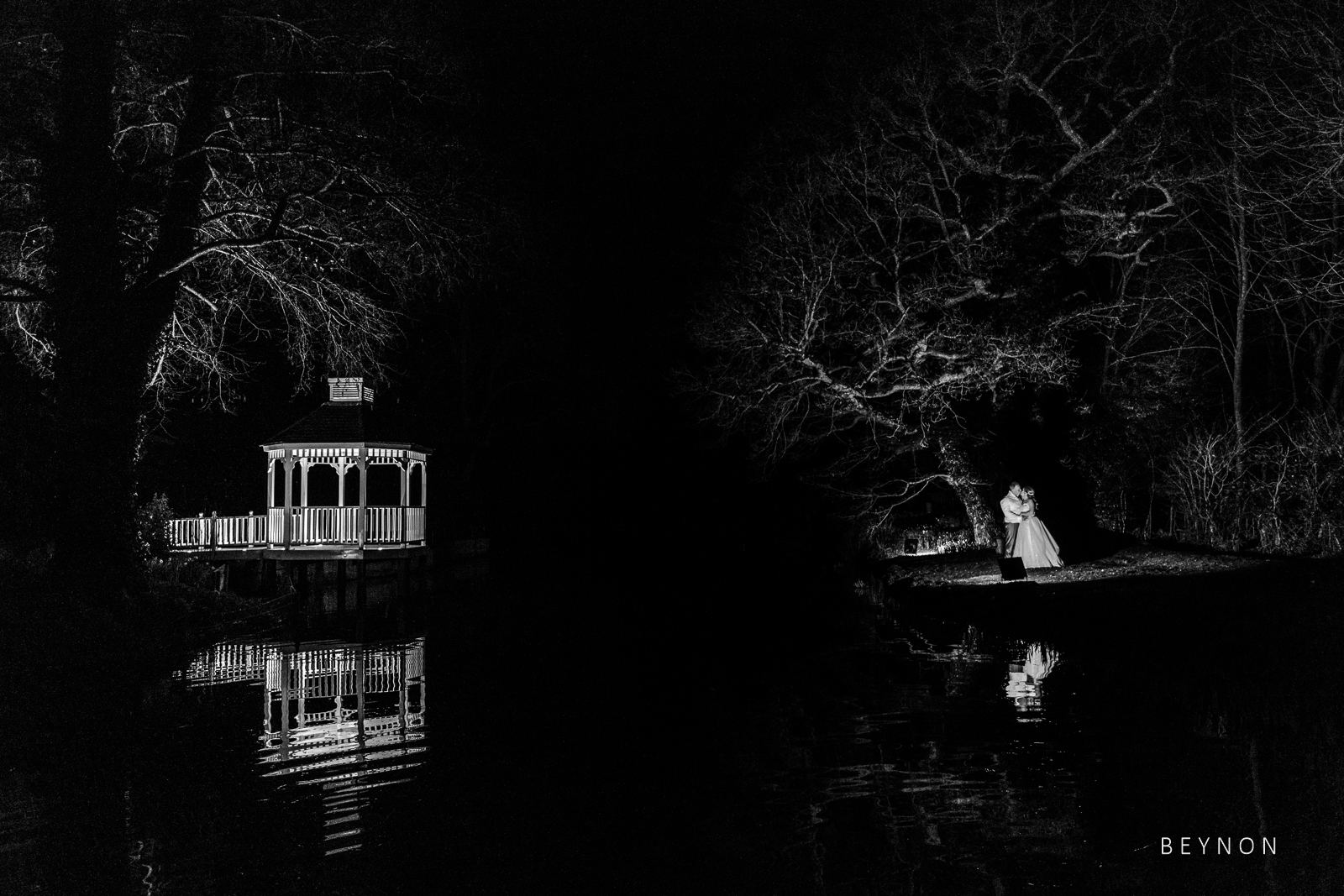 Evening portrait of the bride and groom at Sheen Mill