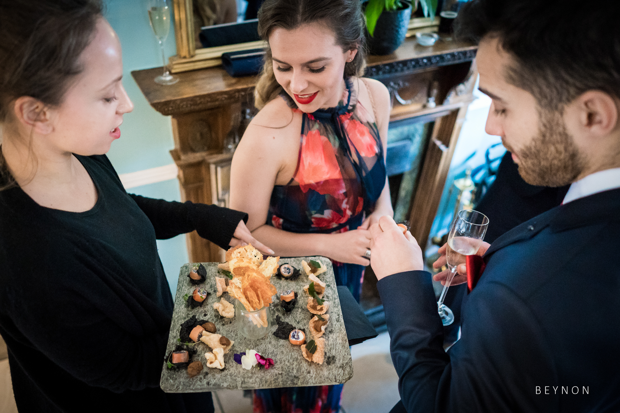 Canapes are handed around by venue staff