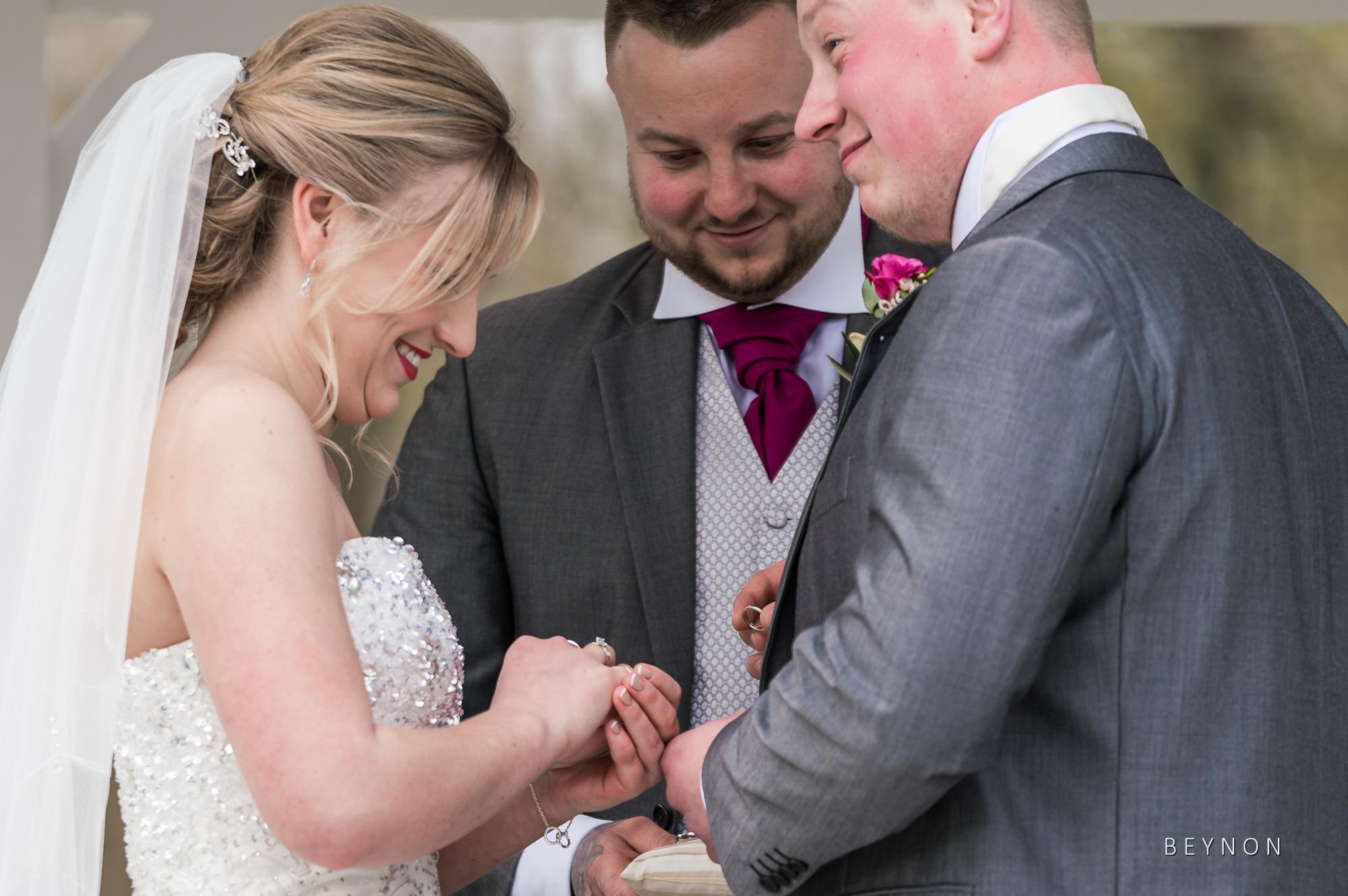 Wedding ring goes on