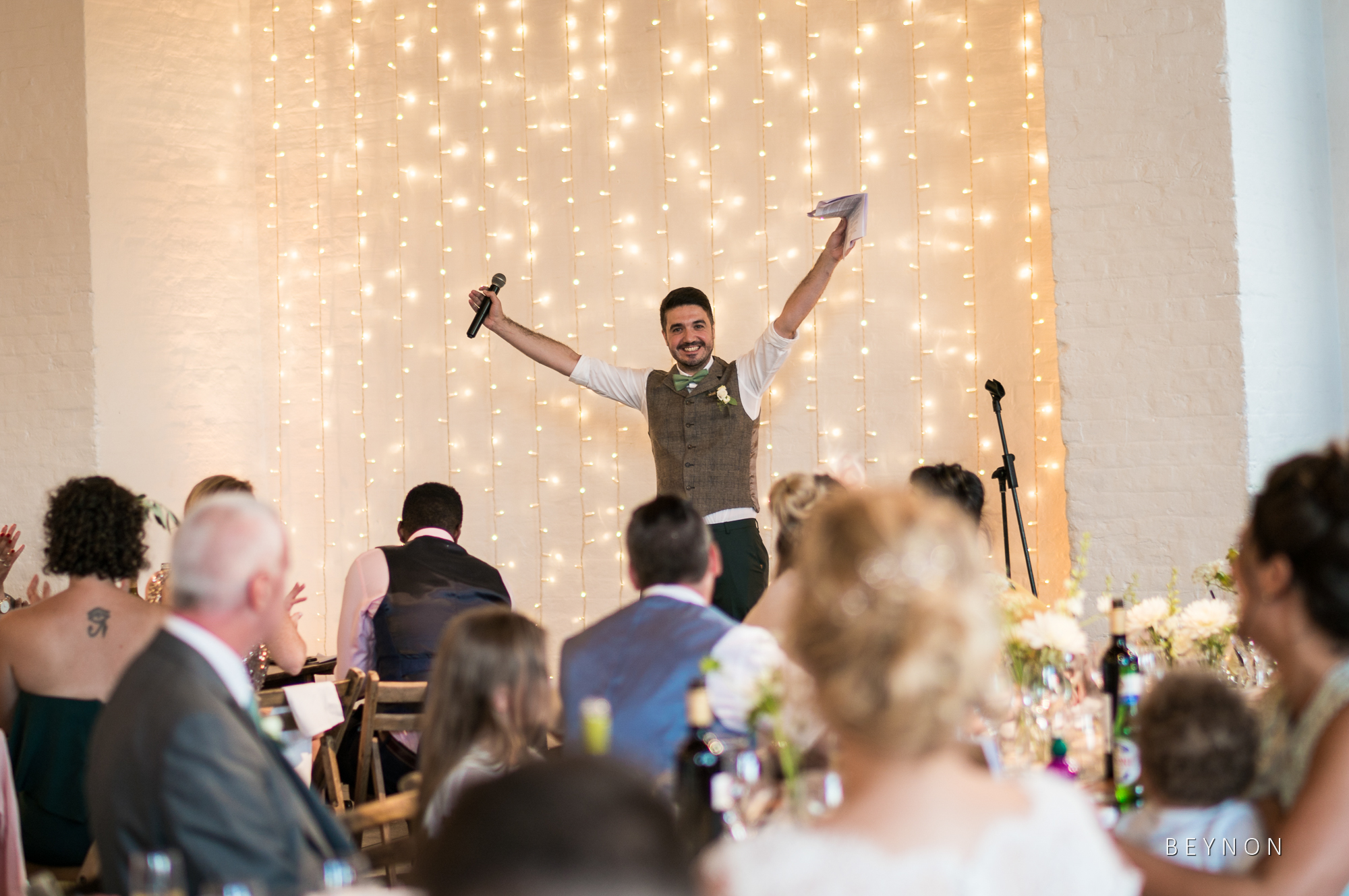 Groom is happy to finish his speech